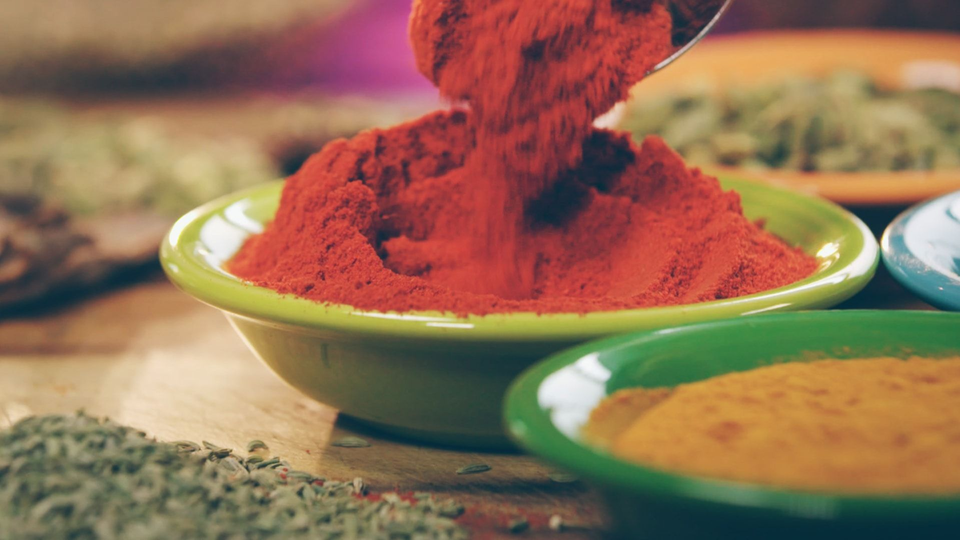 Indian spices in dishes