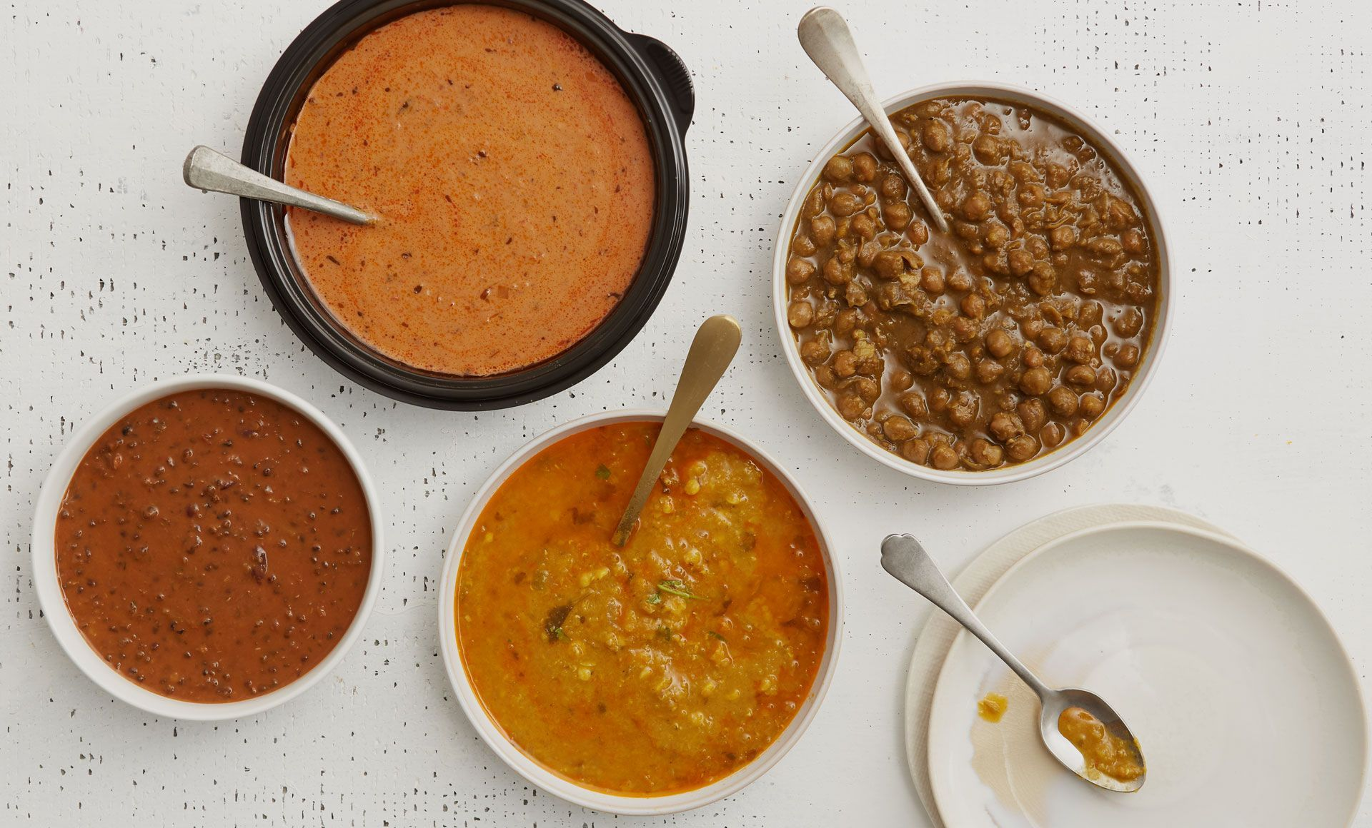 tikka masala, chickpea masala, black lentil daal and yellow lentil daal