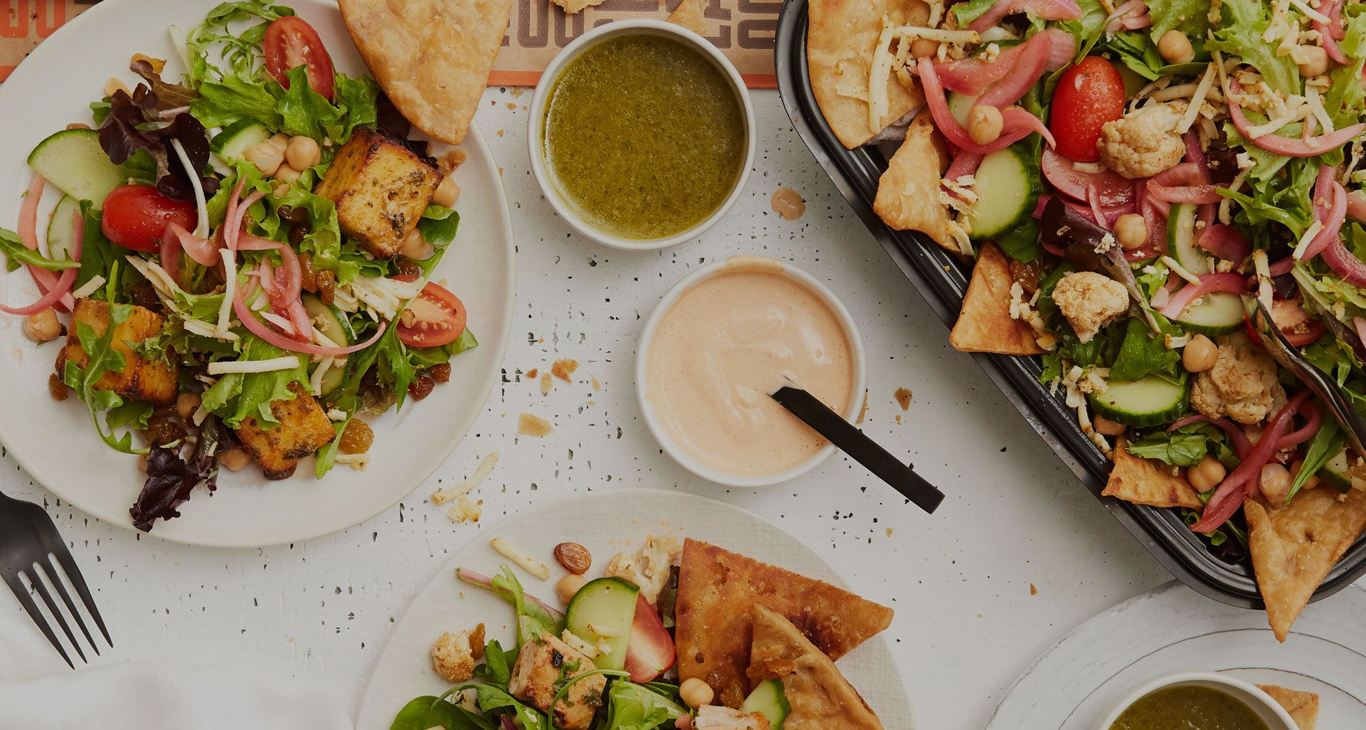 catering choolaah salad with choolaah ranch and tamarind ginger dressing