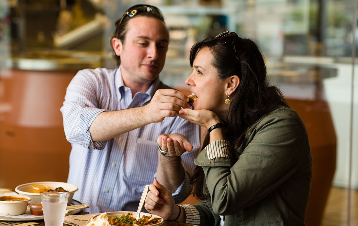 couple eating together at a table