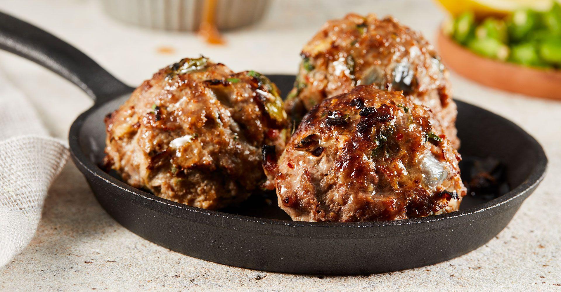 halal lamb meatballs ina dish