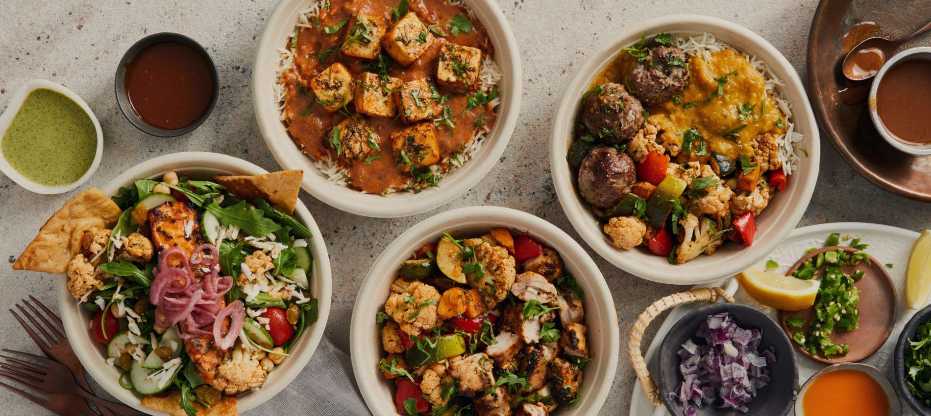 salmon choolaah salad, lamb perfect balance bowl, chicken pro bowl and the paneer choolaah bowl