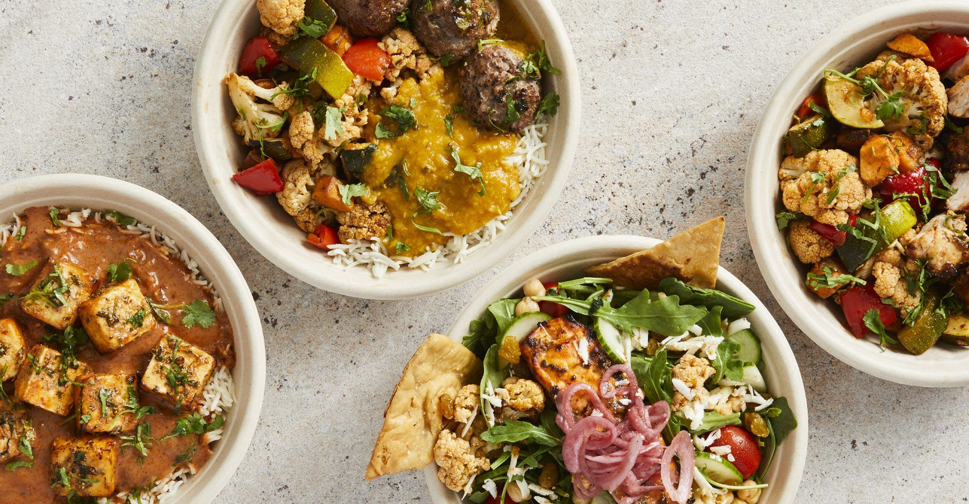 paneer choolaah bowl, lamb perfect balance bowl, salmon choolaah salad and chicken pro bowl